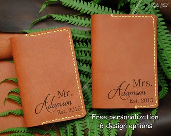 70e3ec81853a Set of 2 Mr and Mrs leather passport cover 3rd anniversary | Etsy