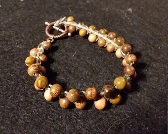 Tigers Eye and Wood Bead Diffuser Bracelet