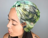 crescent bay collection, pacific shell, hand-painted head wrap, turban, extra-wide headband