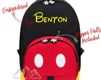8a565a85e2 AVAILABLE TO SHIP 4 3 19 Embroidered Disney Mickey Mouse Boys Backpack Child  Size Toddler Size Canvas Bag Disney Backpack Boys Disney Gift