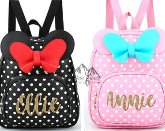 bc56848abb FAST SHIPPING Disney Minnie Mouse Girls Backpack Childs Size Poka Dot Bag  Disney Backpack Girls Disney Gift