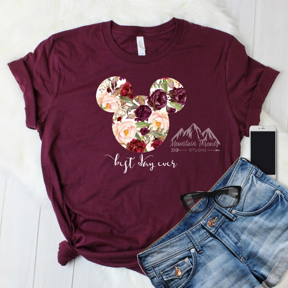In Stock Fast Shipping Maroon Disney Shirt Watercolor Glitter Floral Mickey Shirt / Disney World T Shirt  / Mickey Ears / Minnie Ears by Etsy