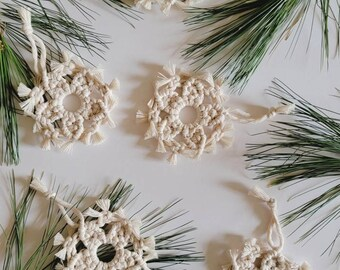 Christmas Ornament   Macrame Snowflake Ornament   Tree Ornament   Gift Tag   Holiday Gift   Macrame   Boho Decor   Christmas Decor  