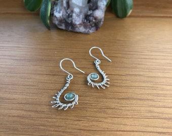 Fiddlehead fern sterling silver handmade earrings