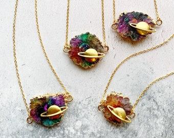 Aura Quartz Nebula Space Necklace