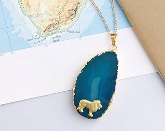 Agate And Lion Necklace