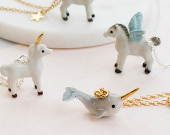 Narwhal, Unicorn And Pegasus Necklaces