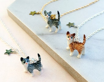 Ceramic Tabby Cat Necklace