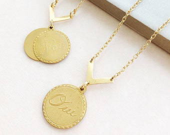 Oui Non French Reversible Necklace