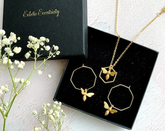 Geometric Bee Necklace And Earrings Gift Set
