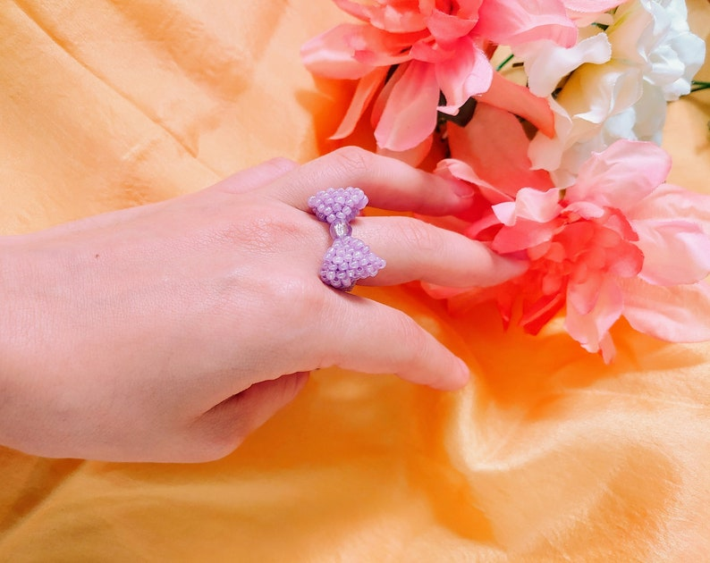 Elegant and Simple Design Lilac Beaded Ring Handmade Ring Bow Inspired Design Glass Beads