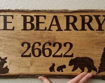 Custom wood burned address sign