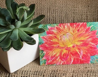 Boxed Dahlia Note Card with Envelope | Botanical Notes | Blank Note Cards | Birthday Card | Gardening | Flowers