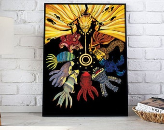 Naruto & the Seven Beasts (Digital Art on Canvas)