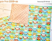 CLEARANCE Owls Tan Bundle - Minky Blanket 36 quot Burp Cloths - baby shower gift - baby owls - baby nursery gift - gender neutral gift