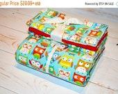 CLEARANCE Red Owls - Minky Blanket Burp Cloths - baby shower gift - gender neutral baby - baby owls nursery - blanket bundle - red minky
