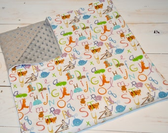 "Animals ABC's Bundle - Minky Blanket 36"" + Burp Cloths - baby shower gift - gender neutral gift - baby animals - baby ABC's - gray minky"