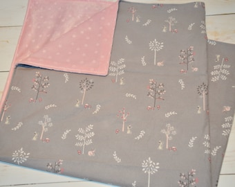 "Modern Classic Pink Woodland Bundle - Minky Blanket 36"" + Burp Cloths - baby girl gift - baby shower gift - modern girl baby"