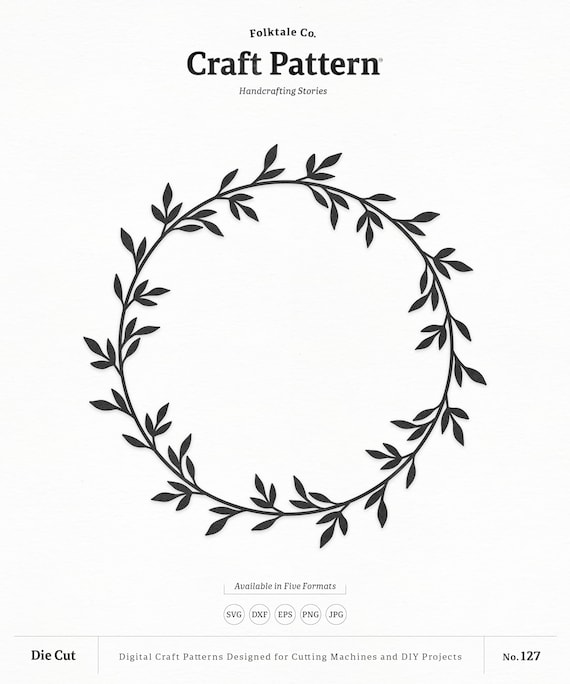 Wreath Svg Craft Pattern Leaf Wreath Svg Monogram Frame Svg Etsy
