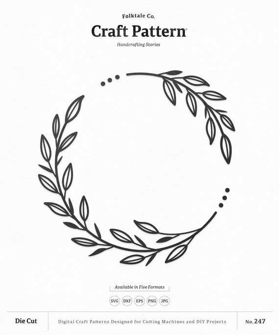 Decorative Leaf Wreath Svg Craft Pattern Flower Svg Wedding Etsy