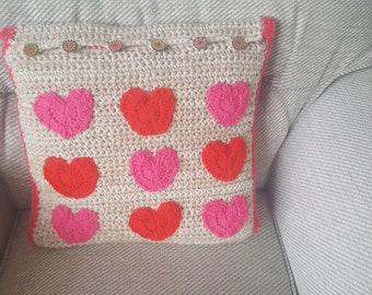 Hand crocheted heart cushion cover