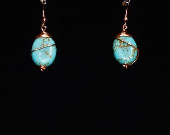 Copper wire earrings, handmade earrings, wire wrap earrings