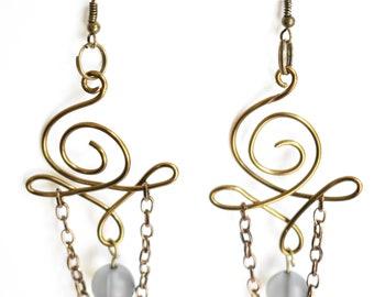 Antique brass earrings, handmade earrings, wire wrap earrings