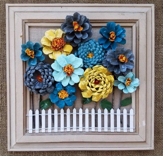 Framed pinecone flowers on burlap with white picket fence etsy image 0 mightylinksfo