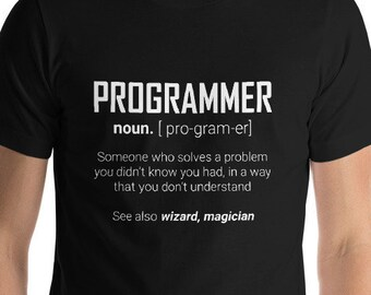 90310ba9 Programmer Definition Funny Dictionary Meaning T-Shirt Great Gift for  Coding Developers People Unisex Short-Sleeve Jersey Tee 8 Colors