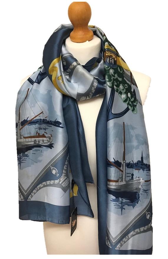 Stylish Lady 100/% Silk Anchor And Rudder Pattern Printed Scarf Shawl