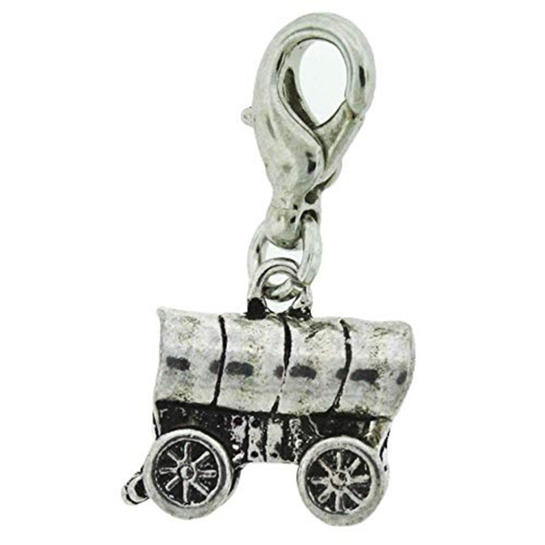 H1 Pioneer Wagon Charm Antique Silver One Moment In Time
