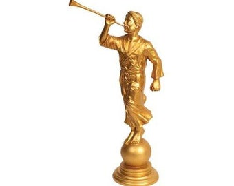 "Angel Moroni Gold Tone Statue 15"" - S31"