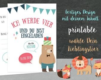 Einladung Kindergeburtstag WILD Printable Tiere