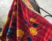 Vintage Colorful Reversible Kantha Throw, Handmade Kantha Quilt, Patchwork, 100 Cotton, Floral Sofa Throw, Multicolored, Christmas Gift