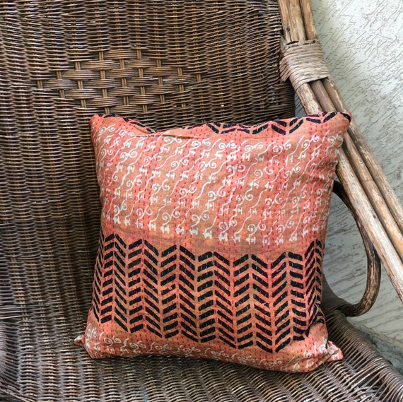 Peach Black White Printed Kantha Silk Cushion Cover Zig Zag Etsy