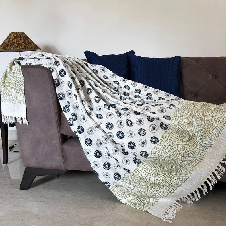 Cotton Bedcover Black /& white Geometric Print Throw Hand Block Printed Handloom woven 100/% Cotton Throw Fringed Sofa Blanket Bedspreads