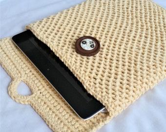 Crochet Tablet Case, E-reader Cover, Device Protector, Tablet Protector, Gadget Protector (beige, tan, green)