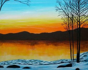 Sunset at China Lake, Maine