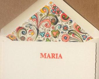 Gift set- 6 cards & envelopes- Florentine paper-orange. Letterpress. Bespoke stationery