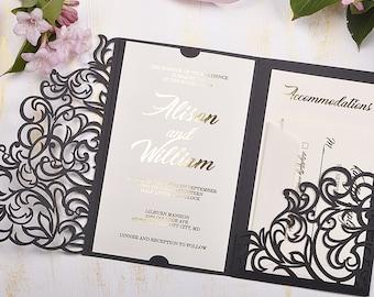 Laser Cut Wedding Invitations Etsy