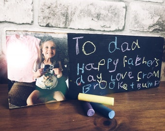 Wood photo transfer block 3D Father's Day gift birthday Christmas Chalk Board