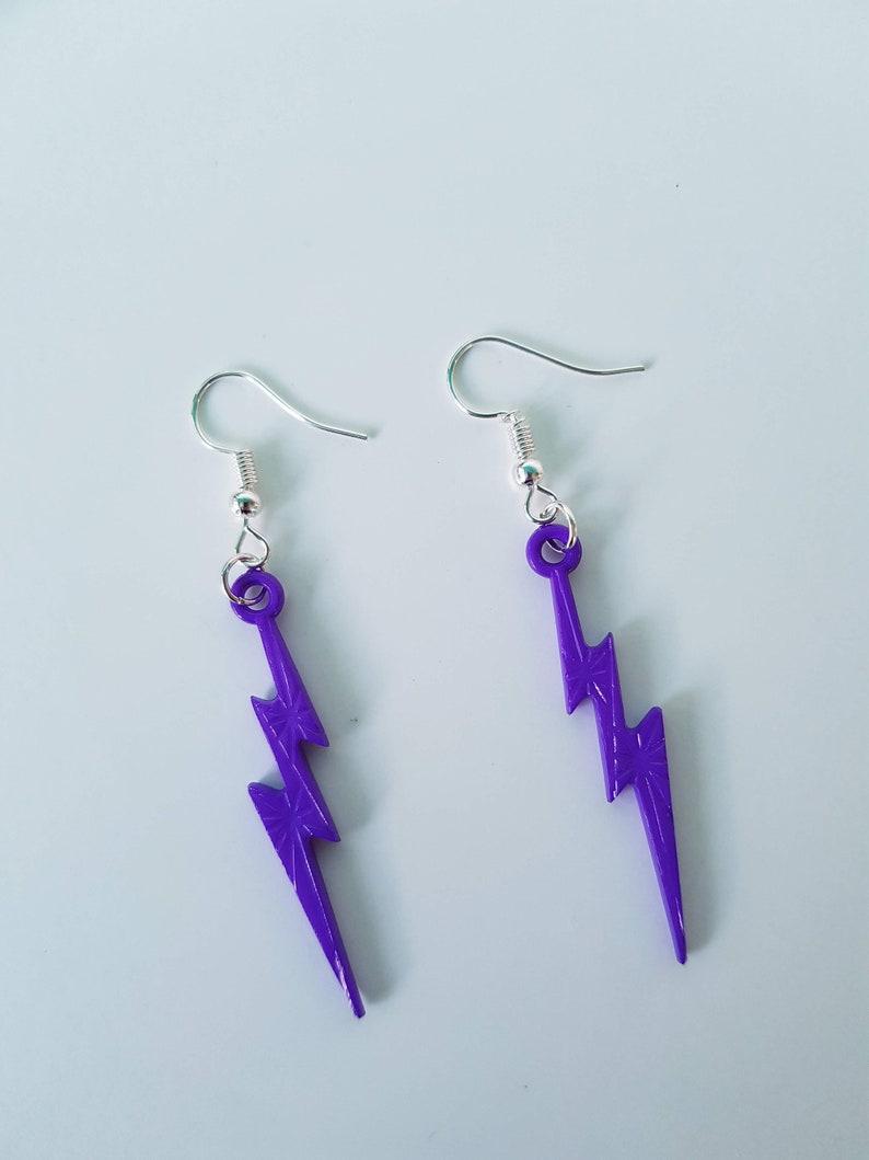 festival earrings statement earrings funky earrings lightening earrings Purple lightening strike earrings 80s pop earrings