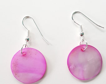Pink mother of pearl shell disc earrings