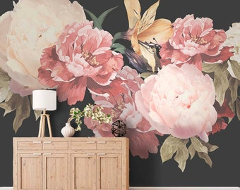 Floral wallpaper etsy peony wallpaper removable floral wallpaper peonies peony flower mural wallpaper non woven wallpaper slef adhesive wallpaper bedroom mightylinksfo