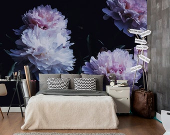 Peony Wallpaper Removable Floral Peonies Flower Mural Dark Background Self Adhesive Z69