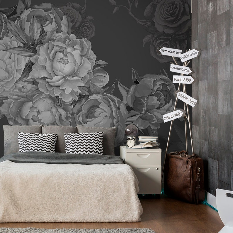Dark Peony Flowers Wallpaper Black And White Wallpaper Self Adhesive Watercolor Removable Non Woven Wallpaper Wallpaper Bedroom Z34