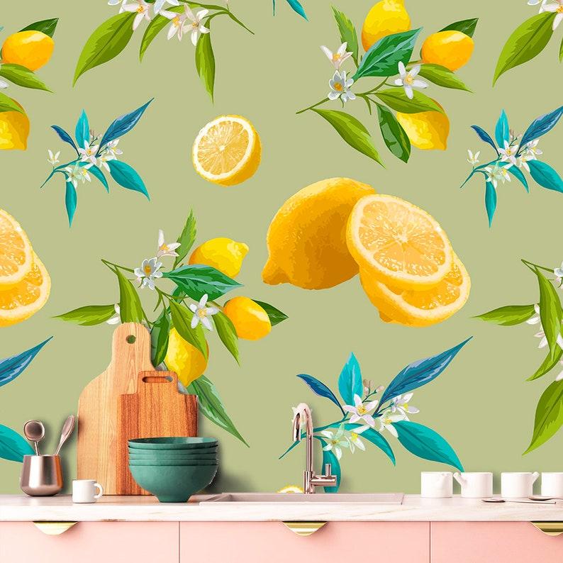 Lemon Wallpaper. Lemons With Leaves Wallpaper. Floral Wallpaper Self  Adhesive. Wallpaper Kitchen. Fruit Wallpaper. Non Woven Wallpaper Z2