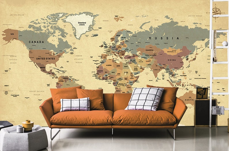 World Map Wallpaper - English World Map - Wallpaper for Kids - Self  Adhesive Wallpaper - Peel and Stick Large World Map Mural Nursery WP88