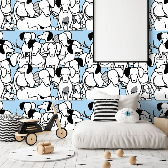 Abstract Dogs Family Wallpaper For Kids Nursery Wall Mural Removable Self Adhesive Wallpaper Lucky Dog Watercolor Painting Wallpaper Z37
