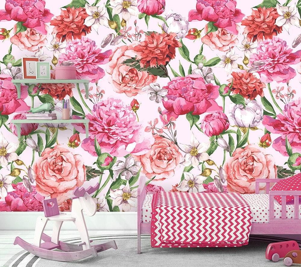 Peony Wallpaper Removable Wallpaper Floral Wallpaper Etsy